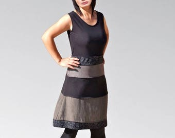 Multicolored sleeveless deb dress in mixed fabric / black gray jersey / cotton silk / handmade in France with love