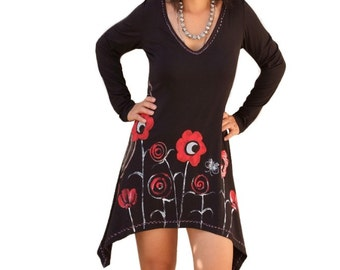 Hand painted women dresses/Black long shirts/ day evevning prom dresses/asymmetric tunics