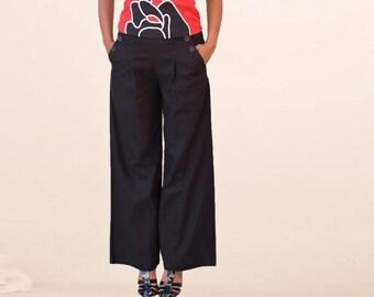 Linen wide leg pants / women bottoms/women black trousers/yoga pants/plus size/handmade in France