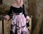 Pink & black pastel goth fairy dress, grunge post-apocalyptic ragdoll cosplay costume, long-sleeved warm dress