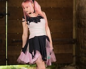 Pastel goth ragdoll dress; pink, mint green & black cute tattered fairy costume; circus outfit; kawaii clothing, witch Halloween costume