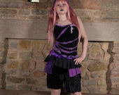 Steampunk black & purple bustle bootie shorts, Ruffled cyber goth fairy bloomers, Size Small S