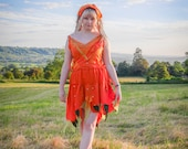 Autumn Fall Halloween dress, Adult pumpkin fairy costume; orange fairy dress, festival clothing, silk chiffon with beads & sequins