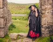 Black velvet hooded cloak / cape. Stunning for a wedding, handfasting, quality heavy cotton velvet with large hood. re-enactment, cosplay