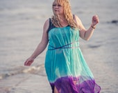 Boho sheer maxi dress, Chiffon fairy goddess dress, Turquoise & Purple dress, bohemian clothing, beach cover up. Mermaid costume