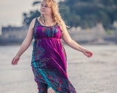 Boho maxi dress, Silk fairy goddess dress, Purple & Jade green patterned silk dress, bohemian clothing, beach cover up.