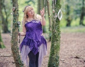 Purple pure silk Fairy top. Naturally dyed cami vest top for a fairy costume. Mori girl boho festival fashion, bohemian clothing