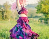 Purple silk and tropical leaf print fairy skirt; special occasion wear; adult fairy costume; dancing skirt