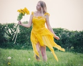 Mustard yellow pure silk Fairy skirt. Pixie hem layered over cotton. Naturally dyed gold for a boho fairy costume. Bohemian festival fashion