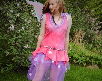 Flower fairy costume, Pink red & purple Ballet fairy dress, Women's Disney princess Sleeping Beauty Aurora costume