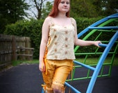 Gold silk bloomers. Circus, tribal fusion clothing, carnival or steampunk fairy costume Mustard yellow capri pants, shorts, cropped trousers