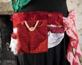 Dark red festival pocket belt. Gypsy, tribal, rave, bohemian hip bag, Glastonbury, Burning Man, Festival fashion