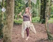 Cream pure silk Fairy skirt. Pixie hem layered over cotton. Naturally dyed for a fairy costume. Mori girl boho festival fashion, bohemian