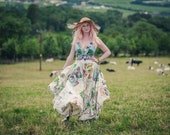Glastonbury Festival dress, upcycled eco friendly festival fashion. Festival wedding dress Sustainable clothing cotton & hemp recycled bags