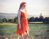 Autumn Fall Halloween dress, Adult pumpkin fairy costume; orange fairy dress, festival clothing, silk chiffon with beads & sequins