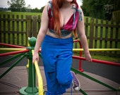 Blue silk bloomers. Circus, tribal fusion or steampunk fairy costume. Turquoise capri pants, shorts, cut off trousers. Festival clothing