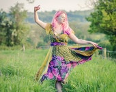 Green & purple fairy dress; tropical leaf print bohemian dress; boho clothing; festival fashion; sustainable clothing, adult fairy dress