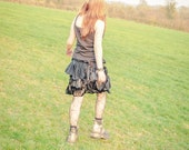 Steampunk black bustle bootie shorts, Ruffled cyber goth fairy bloomers, Size Small S