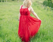 red chiffon maxi dress, beach cover up, sheer summer dress, see-through swimsuit coverup, red fairy dress, goddess dress, sustainable dress