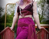 Purple tribal fusion velvet & silk embellished top. Circus or fairy cropped top costume. Crop tank top. Belly dance festival clothing