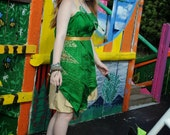 Green & gold circus performer's costume, Carnival outfit, Festival clothing, Pure silk dress tunic top and bloomers culotte shorts.