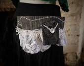 Black & white festival pocket belt. Gypsy, tribal fusion, rave, bohemian hip bag, Glastonbury, Burning Man