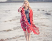 Red floral kimono style jacket. Sheer chiffon beach cover up, bohemian clothing, boho top, festival fashion
