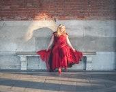 Red wedding dress, red ball gown, boho wedding dress, bohemian wedding gown, red prom dress, sustainable fashion