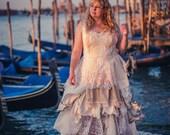 Custom-made fairytale wedding dress; steampunk style wedding dress, Boho bride, Bohemian wedding gown