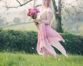 Pink pure silk Fairy skirt. Pixie hem layered over cotton for a fairy costume. Boho festival fashion, bohemian clothing