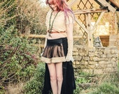 Black steampunk skirt gypsy pirate skirt. Steam punk clothing. High / low, short & long skirt Size medium