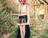 Black steampunk skirt gypsy pirate skirt. Steam punk clothing. High / low, short & long skirt Size medium