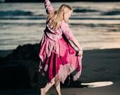 Pink floral fairy dress, ball gown, alternative wedding dress, boho bohemian festival clothing, handfasting, fairytale fashion