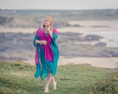 Cerise pink and jade green kimono style jacket. Sheer chiffon beach cover up, bohemian clothing, boho top, festival fashion