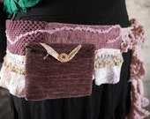 Plum purple & pink festival pocket belt. Gypsy, tribal, rave, bohemian hip bag, Glastonbury, Burning Man