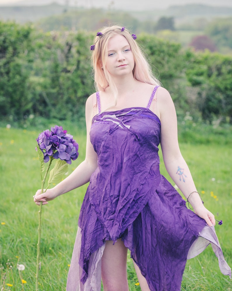 Purple pure silk Fairy top. Naturally dyed cami vest top for a image 0