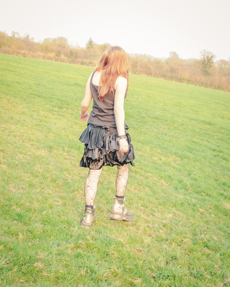 Steampunk black bustle bootie shorts Ruffled cyber goth fairy image 0
