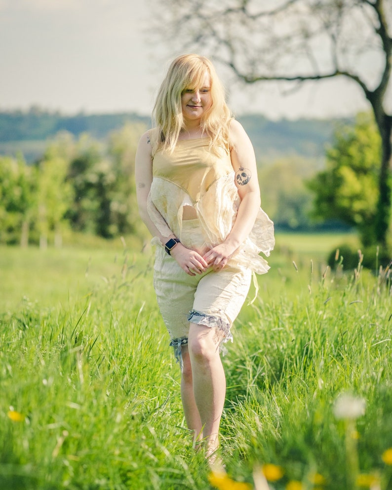 Cream silk bloomers. Neo Victorian steampunk clothing. image 1