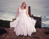 White bohemian wedding dress; fairytale handfasting dress; fairy ball gown, boho prom dress. Sustainable fashion