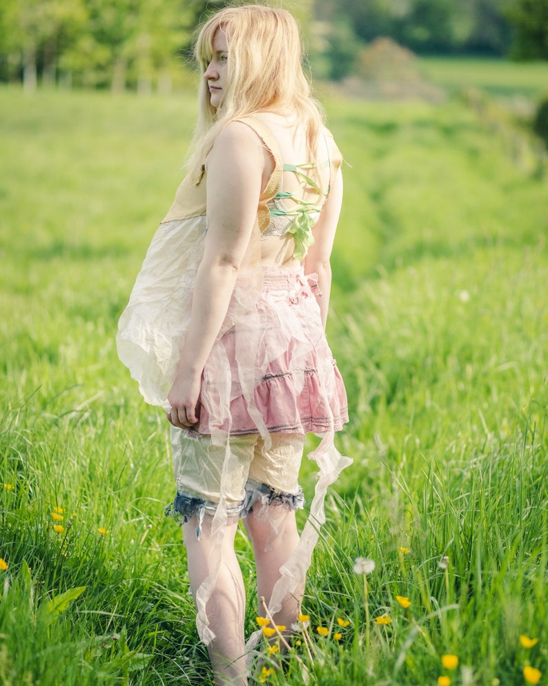 Pretty pink bustle. Tie-on skirt with frills & tatters. Fairy image 0
