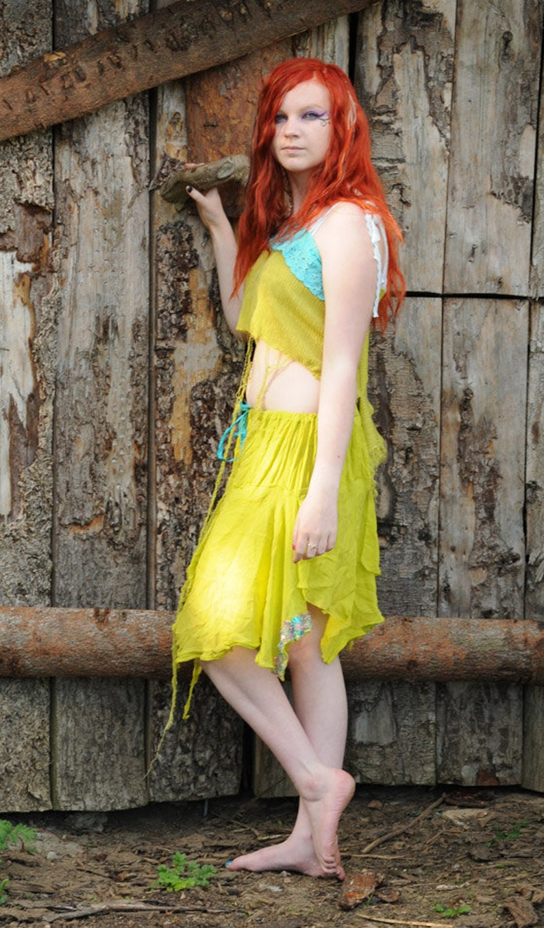 Green Fairy Dress Tattered Woodland pixie costume silk image 0