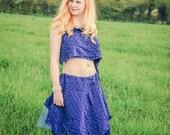 Pure silk blue Fairy dress, adult mermaid costume, vest crop top & tutu skirt, Ballerina dance costume Free Size
