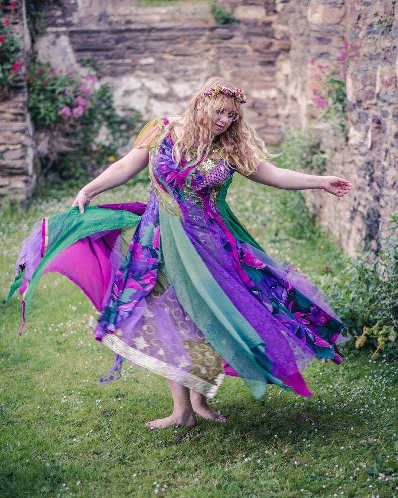 Bohemian green and purple fairy dress tropical leaf print image 0