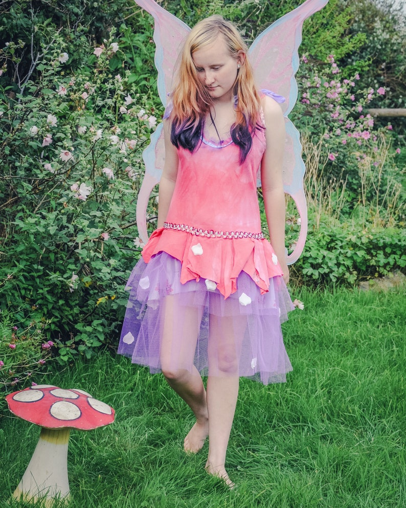 Flower fairy costume Pink red & purple Ballet fairy dress image 0
