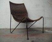 Eames Inspired Wicker and Iron Lounge Chair