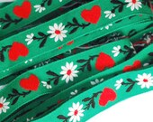 Embroidered Jacquard Trim - Green with Red Hearts and White Daisies - 2 YDS