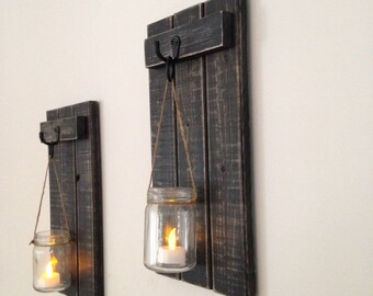 """Rustic Wall Sconce, Wooden Candle Holder, Mason Jar Candle Holder, Wooden Wall Sconce, Rustic Decor, Wall Sconce, 7""""x15"""" Set of 2"""