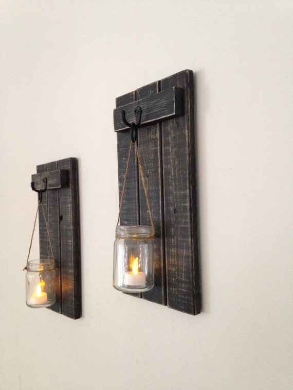 Rustic Wall Sconce Wooden Candle Holder Mason Jar Candle Holder Wooden Wall Sconce Rustic Decor Wall Sconce 7 X15 Set Of 2