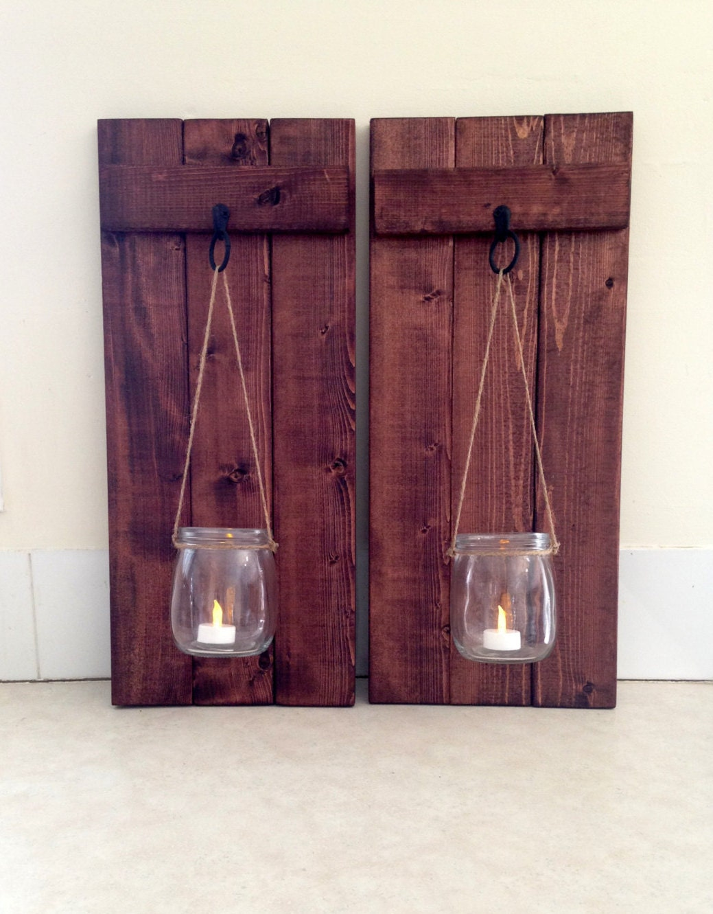 rustic wall decor wooden candle holder mason jar candle. Black Bedroom Furniture Sets. Home Design Ideas