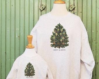 Vintage Christmas sweatshirt, Shiny and Brite, Christmas tree sweatshirt, Mommy and me Christmas sweatshirts